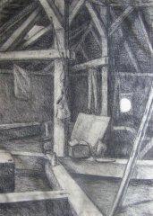 Půda (kresba uhlem, 2003)